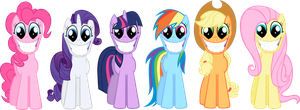 Mane Six: Creepy Faces by Ookami-95