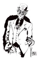 Ink sketch of The Riddler by RougeDK