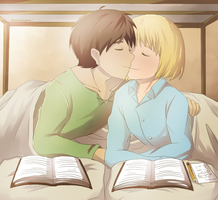 eren and armin studying??? by KatInATopHat