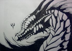Black and White Dragonhead2 by Arenthor