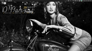 Classy woman on Indian Motorcycle black  white , by speedracker