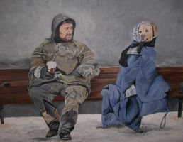 Homeless Man and His Dog by Mrsoms-artist