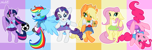 Ponies in Equestria Girls Clothing by EmilieArts