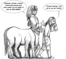 Draw a centaur day - Sleipnir and his mommy by kineko