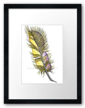 Framed Yellow-violet-feather-aceo by orijuju