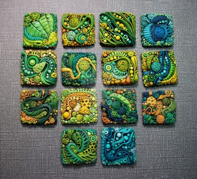 Textured Polymer Clay Inchies by MandarinMoon