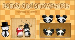 Panda and Snowpeople by joulee