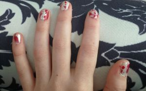 Blood splatter nails by ShayeraLee