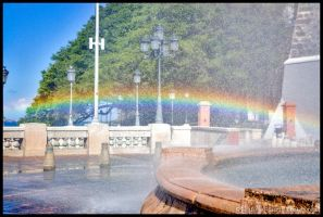 Rainbow At The Fountain by Vamppy
