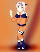 Sakura In Naruto's Clothes by CherryDesire