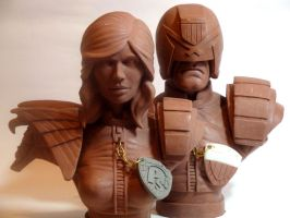 Judge Dredd and Judge Anderson by MWhiteSculpting