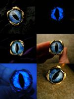 Blue Kracken Dragon Eye Sized Ring Silver Gold by LadyPirotessa