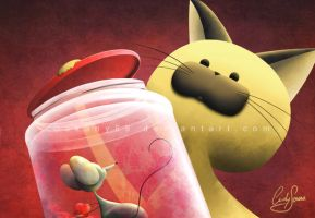 Jingles closing the jar by Akany89