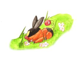 Tepig in the Meadow by Lunamis
