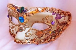 Old Gold Brocade And Gem Masquerade Mask by DaraGallery
