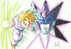 GOHAN Y CELL by J-S-S-C