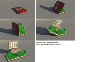 Sequence of 3D pop-up book by 0jen0