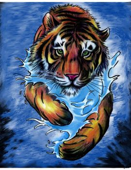 Tiger in Water Painting (Tattoo Flash) by KcbJr1979