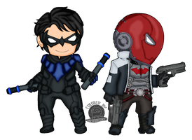 Nightwing and Red Hood by Blackmoonrose13