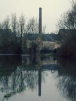 Reflection of a chimney in flood water by ARAart