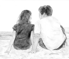 .:Commission:. On the Beach by rachaelbat