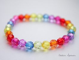 Rainbow Gradiant Beaded Bracelet by MaverickMae