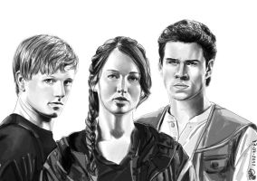 The hunger games_Peeta_Katniss_Gale by joanap