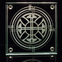 Celtic Cross Sandblasted Glass Tabletop Coaster by ImaginedGlass