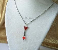 Fire Arrow Swarovski Pendant Necklace Zelda OOAK by TorresDesigns