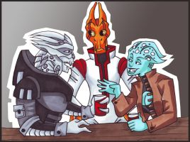 Mass Effect Mush: The Threshers coloured by lacuna-purify