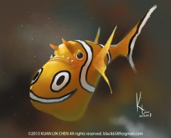 Smiling Clownfish by black6589