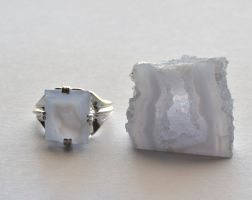 Blue Chalcedony Ring And Geode by lamorth-the-seeker