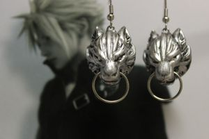 Cloud Strife Wolf Emblem Earrings by shobey1kanoby