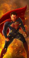 Man of Steel in all his Fiery Glory by Vaultr