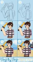 Step by step: Minecraft Pirate Isles Fanart! by honeyy-bee