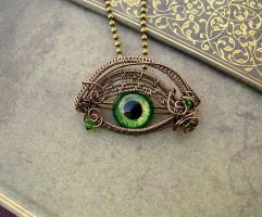 Custom for LadyJanice - Green Steampunk Dragon Eye by LadyPirotessa