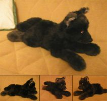 black wolf plush by Victoria-Poloniae