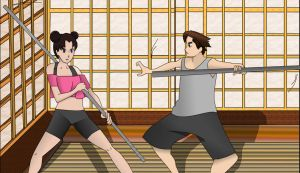 Tenten and Daisuke Workout by BluSilvrPaladin