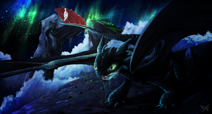 Toothless under the Aurora by onikafei