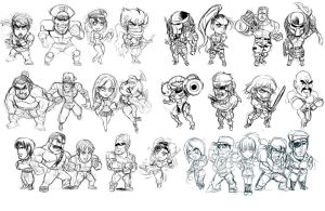 multiple charas scketches... by Shayeragal