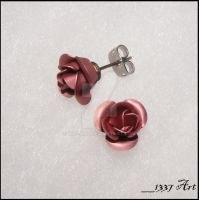 Dusty Pink Rose Studs by 1337-Art