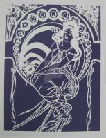 Mucha - Painting Paper Cut by Lavinark