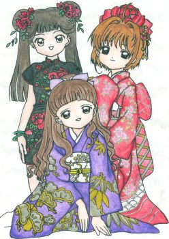 Sakura, Tomoyo and Meiling by searchanddestroy