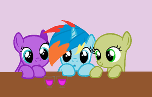 Collab: Sky Dash and two fillies ( OLD ) by cheesanyeap