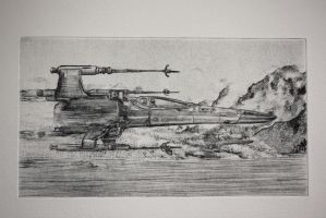 x-wing dry point print - close up by SwarzezTier