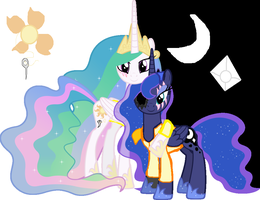 the whish celtestia and luna by dragonjule