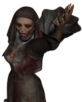 The zombie nun stock png 01 by Ecathe
