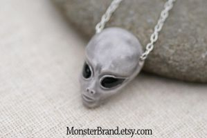 Gray Alien Necklace by MonsterBrandCrafts
