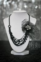 Black Bead and Chain Necklace by shoudoumagic