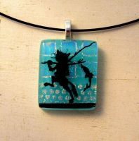 Gone Fishing Fused Glass Cat Necklace by FusedElegance